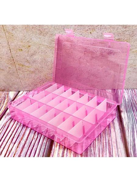 Контейнер для маникюрных принадлежностей на 24 секции (Розовый)