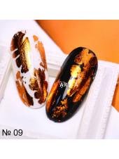 Фольга для дизайна ногтей оранжевый металлик №09