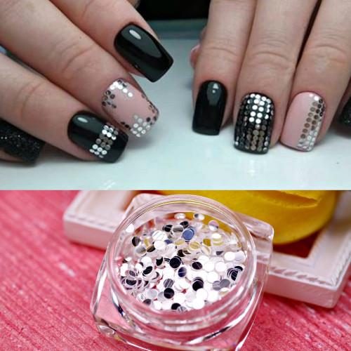 Диско-дизайн для ногтей Круг (Серебро)