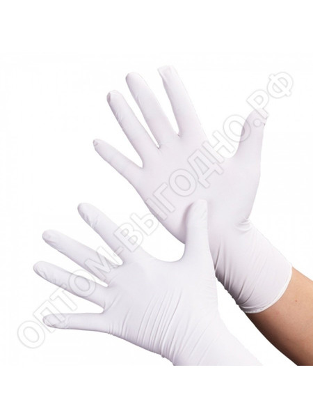 Перчатки нитриловые белые Nitrile, S 50 пар.